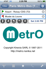MetrO app front page