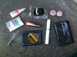 The contents of my travel makeup kit