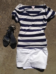 Striped tee and white skort