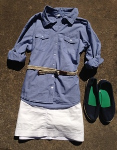 Chambray shirt and white skort