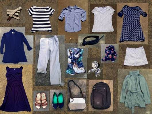 A modified travel capsule wardrobe that fits under a standard airplane seat