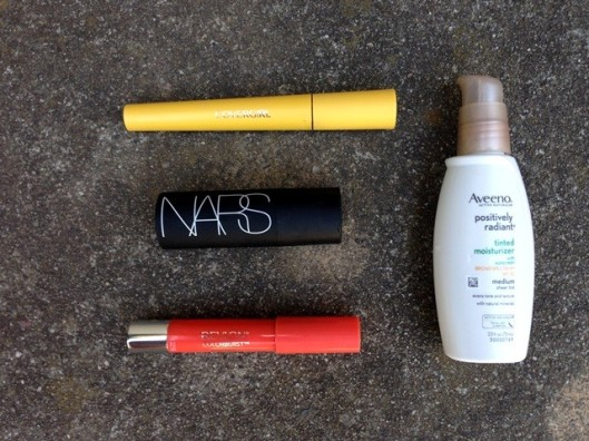 Easy summer makeup - CoverGirl mascara, NARS makeup stick for eyes and cheeks, Revlon balm stain stick for lips, with a base of SPF 30 tinted moisturizer from Aveeno. Decant the moisturizer into a 1-1/2 oz bottle to save space in your liquids bag. Add in some eye shadow and maybe another stain stick for the evening and you're good to go!