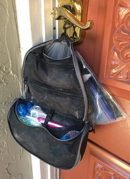 Toiletry bag hanging with liquids bag