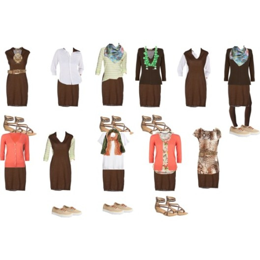 Italian capsule brown dress outfits