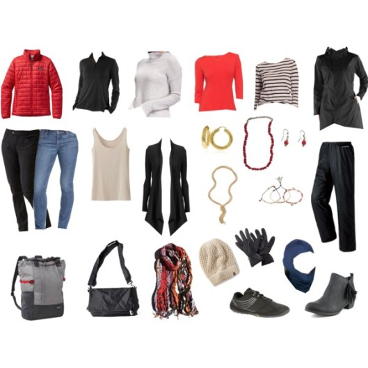 Here are that clothing items that I took, minus silk long underwear, socks, and undies. I wore the jeans, stripe top, ankle boots, and rain jacket on the plane.
