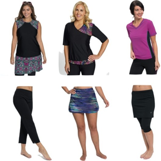 —You have options! Consider swim tees and leggings as dual purpose clothing choices. These pieces come with separate bra and panties, which lets them pack smaller and dry faster.
